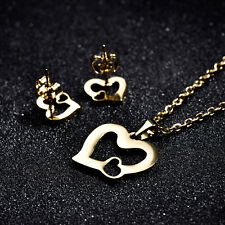HUCHE Double Heart Gold Filled Jewelry-SET Lady Stainless Steel Necklace Earring
