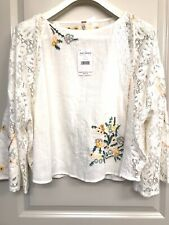 NWT Free People Embroidered Peasant Bell Sleeve Blouse Top XL Ivory168$