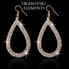 boucles d'oreilles créoles ovales cristal swarovski plaqué or jaune
