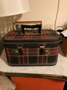 Vintage Train Case, Tartan Plaid Luggage, MCM, Red & Black Plaid with keys