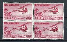 San Marino 1961 posta aerea elicottero in blocchi di 4 mnh