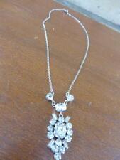 faux diamond dangle centre piece Vintage silver tone chain Sparkle