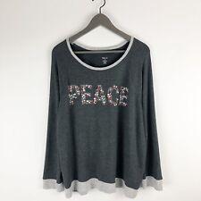 Style & Co Womens XL Top Gray Long Sleeve Rhinestone Embellished Peace Shirt