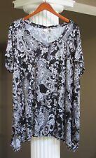 ARTISAN NY Black White Gray Taupe Paisley Print Short Sleeve Tunic Top Sz 1X NWT