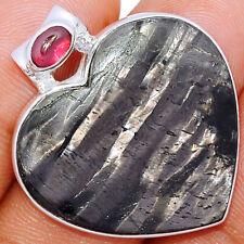 Heart - Hypersthene, Canada & Garnet 925 Sterling Silver Pendant Jewelry BP27707