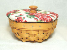 Longaberger Sage Booking Basket with Protector and Padded Geranium Fabric Lid