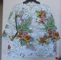 CJ Banks Safari print knit top, 3/4 sleeve, green multi Sizes 1X, 2X, 3X NWT