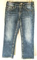 Silver Womens Jeans Aiko Capri Distressed Medium Wash Tag Size 26