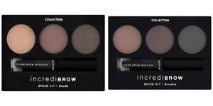 COLLECTION Incredibrow Eyebrow Kit 3 Powder Shades Clear Brow Gel Mascara &Brush