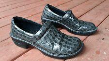 Born Concept BOC Women's Peggy Gray Croc Patent Clogs Size 11/EU 43 Shoes NICE