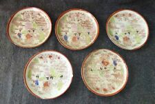 Vintage Porcelain Handpainted Set of 5 Geisha Girls Saucers Made in Japan