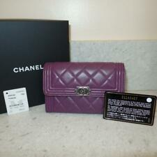 5659878b9948bb Chanel Boy Flap Coin and Card Small Purple Lambskiin Leather Wallet $950+TAX