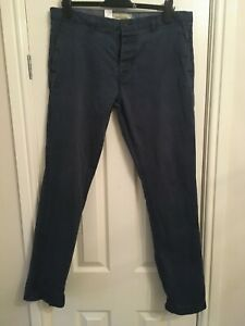 Next Men's Blue Slim Fit Cotton Blend Chinos 36in W 33in L