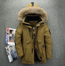 Men's Fur Collar Hooded Parka Winter new Down Jacket Coat Fashion Brown Outwear