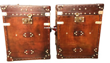 Vintage leather Inspired chest side table trunks pair finest English antique