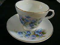 Crown Trent Staffordshire England Blue Floral w/Gold Trim Tea Cup & Saucer