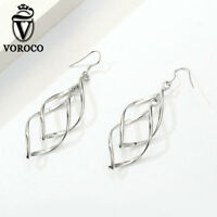 Voroco Christmas brass Platinum plated overlapping Earrings Charm Women Jewelry