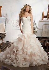 MORI LEE BRIDAL GOWN #8111 IVORY ORGANZA WEDDING GOWN MERMAID SIZE 20