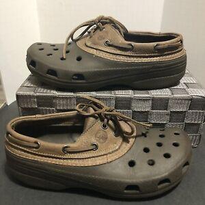 Crocs Islander Pitcrew Boat Brown Leather Men 8 Women 10 Unisex Shoes Lace up