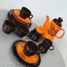 edles altes Keramik Kaffee Service für 4 Personen 17 teilig Retro 60er 70er J.