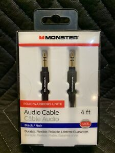 Monster 4-FT | 1.21 M AUDIO 3.5 MM AUX CABLE Gold Contacts Audio Phone Tablet