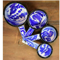 Enamelware Enamel Ware 4 pc Measuring Cup Set Splatterware Cobalt Blue Swirl