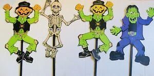 Halloween Yard Stake Decorations Take One 2003 Lot Of 4 Skeleton Scarecrows
