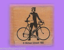 BICYCLE RIDER WOOD MOUNTED RUBBER STAMP - VERY RARE - 1982 - USED
