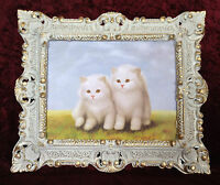 Bild mit Antik Rahmen Weiß-Gold Katze Baby Wandbild Tiere 45x38 Weiße Kätzchen