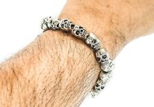 Men's Metal Bracelet Skull Stretch Chain Biker Gothic Bangle Silver Punk Goth