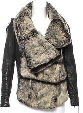 Helmut Lang Intermix Exclusive Flux Fur & Leather Coat Jacket Black P XS $1895