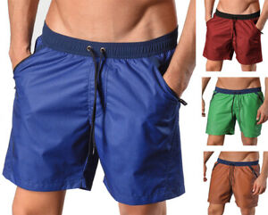 Geronimo Mens Swimming Sports Training Active Shorts Green Red Blue 1410p4