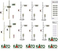 KATO By TOMIX SET 8 SEMAFORO BINARI (ROSSI+VERDI) con BASE NON LUMINOSI SCALA-N