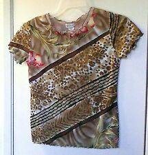 Nicola. Mixed Brown and Tan print short sleeve pullover top size S