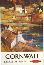 1950's Cornwall By Train Railway Poster  A2 Reprint