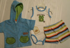 BABY GRAND Boys 3-6 Month Striped Shorts Bodysuit Blue Frog Jacket Outfit NWT