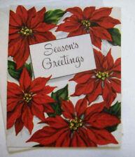 Poinsettias 50's Mcm vintage Christmas greeting card unused *7B