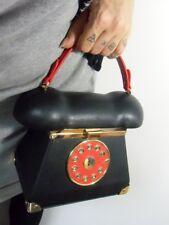 Sac à main forme téléphone phone vintage simili cuir noir miroir pinup rétro