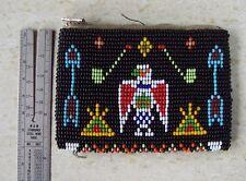 "Vntg 1940's Native American Rosebud Lakota Sioux Beaded Coin Purse Zipper 4""x3"""