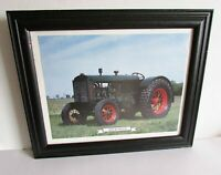 "Wood Framed 1931 RUMELY Tractor Print w Glass 16.75x13.75"" info reverse FREE SH"