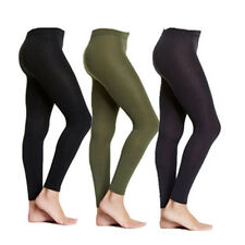 3 Pairs S/M Small Medium Black Olive Gray Fleece Lined Women's Footless Tights
