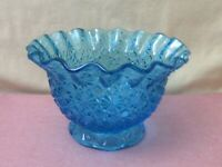 Vintage Blue Pressed Glass Bowl/Candy Dish - Daisy Design