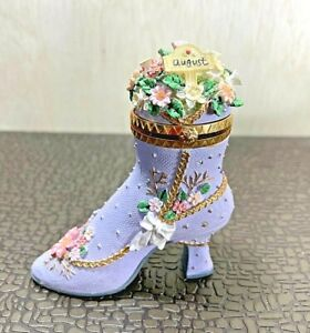 """Vintage Collectible Resin """"August"""" Large Decorative Boot Hinged Trinket Box"""