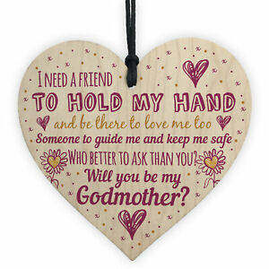 Will You Be My Godmother Gift For Friend Wooden Heart Godparent Asking Gifts