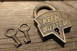 Antique Vintage Style Brass Keen Kutter Padlock Lock & Key
