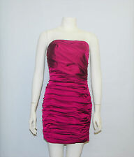 Express Fuschia Magenta Rouched Strapless 4% Spandex Clubbing Mini Dress Size 4