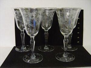 "VINTAGE SET OF FIVE ETCHED FLORAL GLASS WATER GOBLETS OR WINE GLASSES 7-½"""