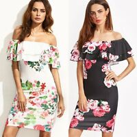 Summer Women Bandage Bodycon Off Shoulder Evening Party Cocktail Club Mini Dress