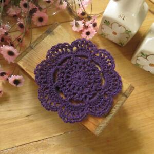 4Pcs Purple Vintage Hand Crochet Cotton Lace Doilies Round Flower Coasters 10cm