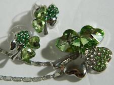 Shamrocks Necklace Earrings Set St Patricks Day Jewelry Crystals Rhinestones New
